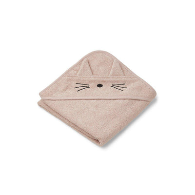 Liewood Albert Hooded Baby Towel - Cat - Rose-Towels & Robes-Cat Rose- Natural Baby Shower