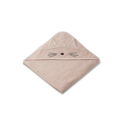 Liewood Augusta Hooded Towel - Cat - Rose-Towels & Robes-Cat Rose- Natural Baby Shower