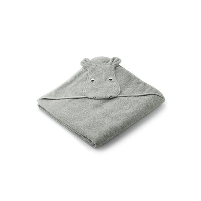 Liewood Augusta Hooded Towel - Hippo - Dove Blue-Towels & Robes-Hippo Dove Blue- Natural Baby Shower