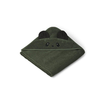 Liewood Augusta Hooded Towel - Panda - Hunter Green-Towels & Robes-Panda Hunter Green -One Size- Natural Baby Shower