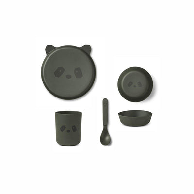 Liewood Bamboo Box Set - Panda Hunter Green-Feeding Sets- Natural Baby Shower
