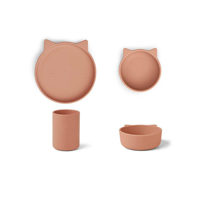 Liewood Cyrus Silicone Junior Set - Cat Dark Rose-Feeding Sets- Natural Baby Shower