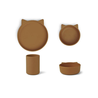 Liewood Cyrus Silicone Junior Set - Cat Mustard-Feeding Sets- Natural Baby Shower