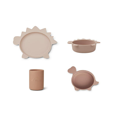 Liewood Cyrus Silicone Junior Set - Dino Rose Multi Mix-Feeding Sets-Dino Rose Multi Mix- Natural Baby Shower