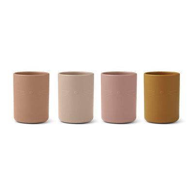 Liewood Ethan Cups - Cat Rose Multi Mix - 4 Pack-Cups & Straws-Cat Rose Multi Mix- Natural Baby Shower