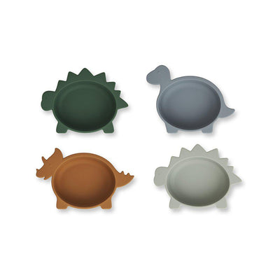 Liewood Iggy Silicone Bowls - Dino Blue Multi Mix - 4 Pack-Bowls & Plates-Dino Blue Multi Mix- Natural Baby Shower