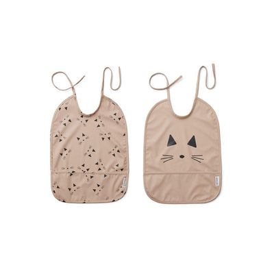 Liewood Lai Bib - Cat + Rose - 2 Pack-Bibs-Cat Rose- Natural Baby Shower