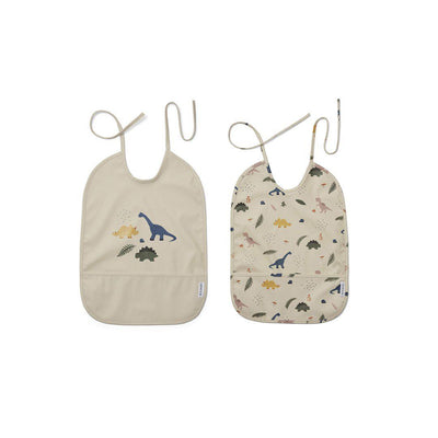 Liewood Lai Bib - Dino Mix - 2 Pack-Bibs-Dino Mix- Natural Baby Shower
