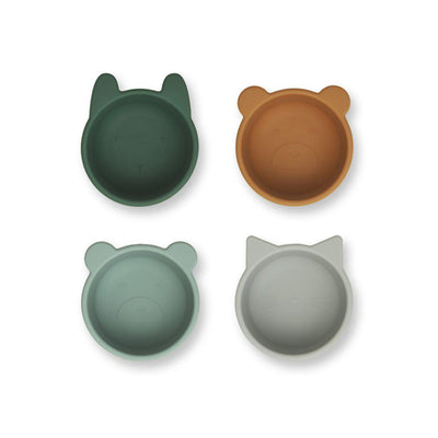 Liewood Malene Silicone Bowls - Green Multi Mix - 4 Pack-Bowls & Plates-Green Multi Mix- Natural Baby Shower