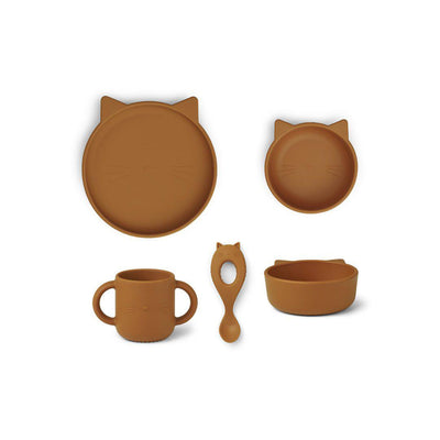 Liewood Vivi Silicone Set - Cat Mustard-Feeding Sets- Natural Baby Shower
