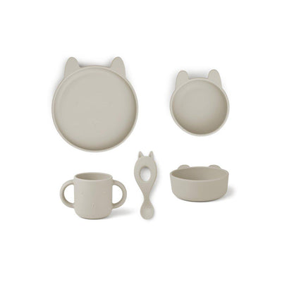Liewood Vivi Silicone Set - Rabbit Sandy-Feeding Sets- Natural Baby Shower