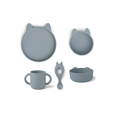 Liewood Vivi Silicone Set - Rabbit Sea Blue-Feeding Sets- Natural Baby Shower