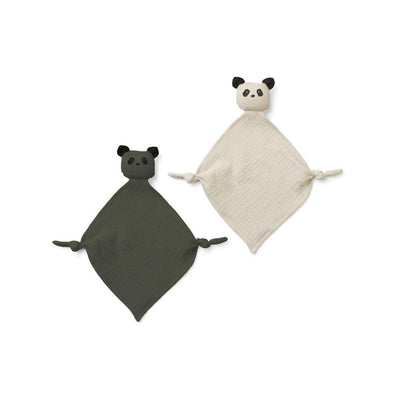 Liewood Yoko Mini Cuddle Cloths - Panda Hunter Green/Sandy Mix - 2 Pack-Comforters- Natural Baby Shower