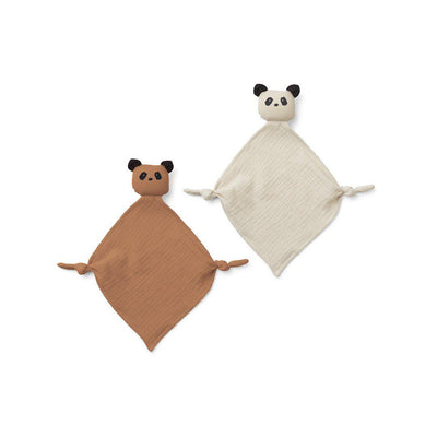Liewood Yoko Mini Cuddle Cloths - Panda Tuscany Rose/Sandy Mix - 2 Pack-Comforters- Natural Baby Shower