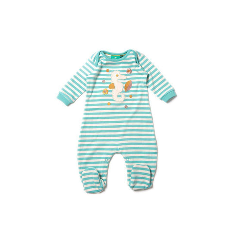 Little Green Radicals - Seahorse Applique Babygrow