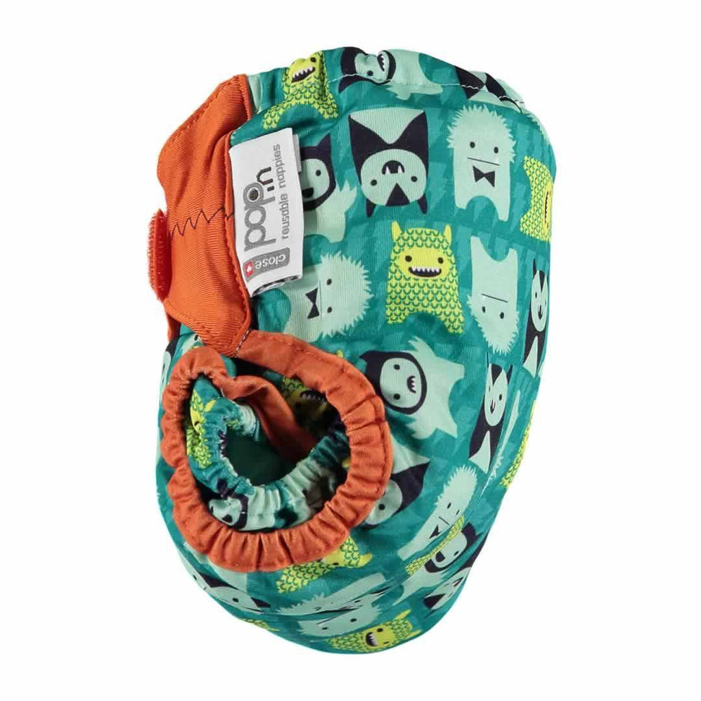 Close Pop-in V2 Bamboo Nappy Herman Monster Side