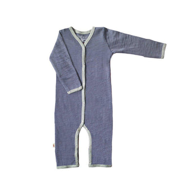 Merino Kids Cocooi All-in-One - Denim & Light Grey-Rompers- Natural Baby Shower