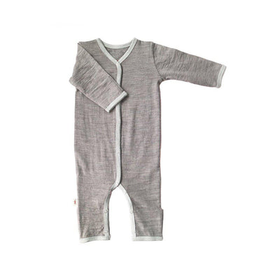 Merino Kids Cocooi All-in-One - Flint & Light Grey-Rompers- Natural Baby Shower