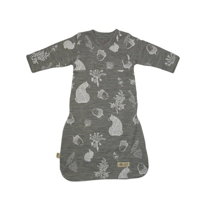 Merino Kids Cocooi Gown - Bear Print - Light Grey-Sleep Gowns- Natural Baby Shower