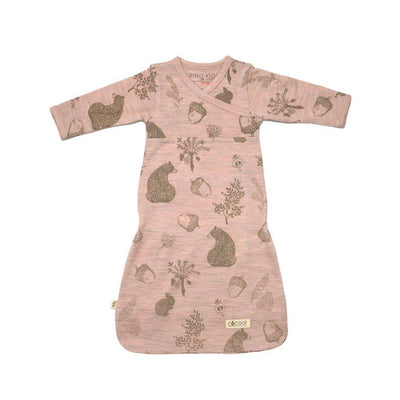 Merino Kids Cocooi Gown - Bear Print - Misty Rose-Sleep Gowns- Natural Baby Shower