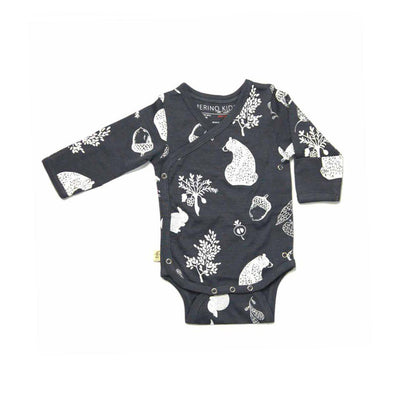 Merino Kids Cocooi Long Sleeve Kimono Bodysuit - Dark Slate-Bodysuits- Natural Baby Shower