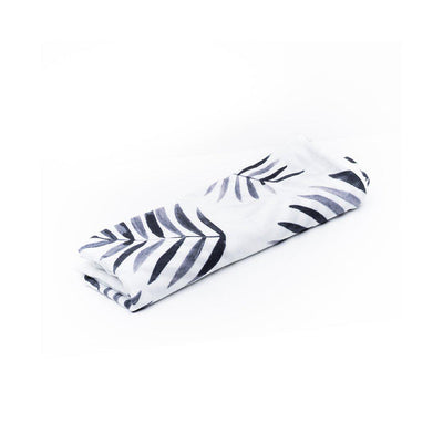 Miilk Muslin - Black + White Palm Leaf-Swaddling Wraps- Natural Baby Shower