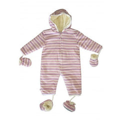 Merino Kids Playsuit - Pink/Grey Stripe