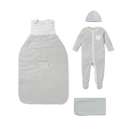 MORI Clever Sleep Set - Grey Stripe-Clothing Sets-Grey Stripe-0-3m- Natural Baby Shower