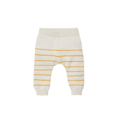 MORI Knitted Stripe Joggers - Ecru Stripe-Pants- Natural Baby Shower