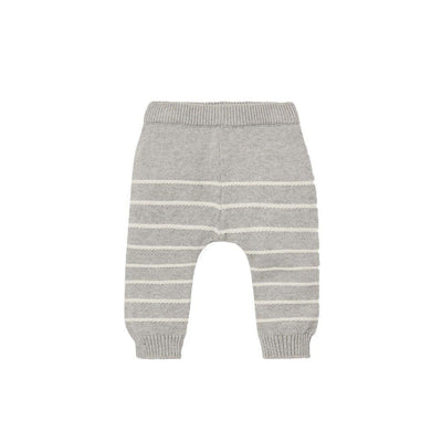 MORI Knitted Stripe Joggers - Grey Stripe-Pants- Natural Baby Shower