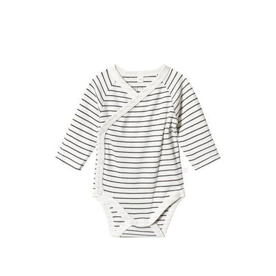 MORI Long Sleeve Kimono Bodysuit - Grey Stripe-Bodysuits- Natural Baby Shower