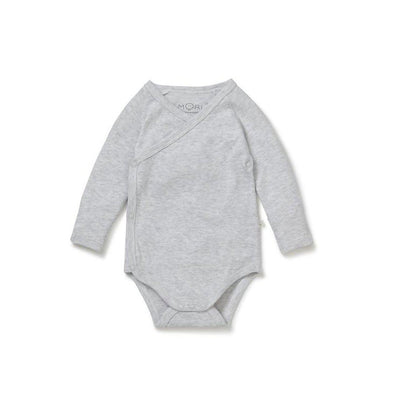 MORI Long Sleeve Kimono Bodysuit - Grey-Bodysuits- Natural Baby Shower