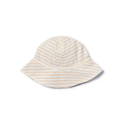 MORI Reversible Chambray Hat - Orange Stripe-Hats- Natural Baby Shower