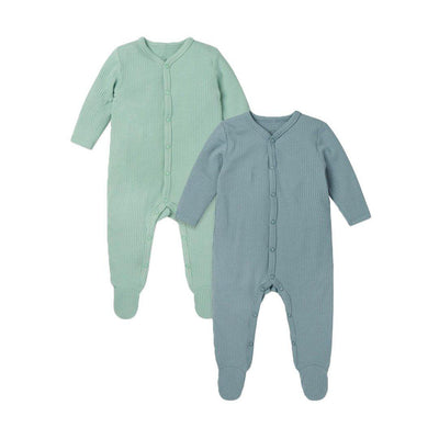 MORI Ribbed Front Opening Sleepsuits - Blue & Mint - 2 Pack-Sleepsuits- Natural Baby Shower