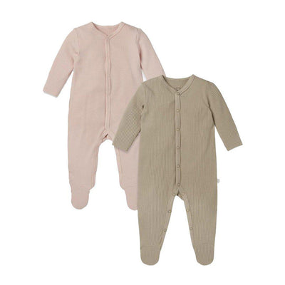 MORI Ribbed Front Opening Sleepsuits - Blush & Biscuit - 2 Pack-Sleepsuits- Natural Baby Shower
