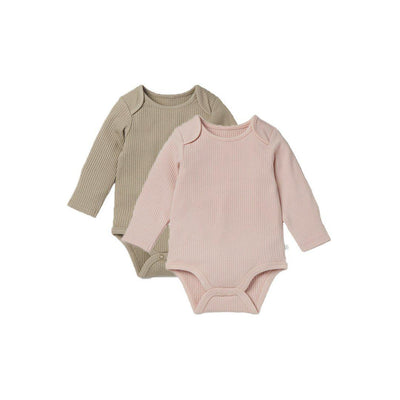 MORI Ribbed Long Sleeve Bodysuits - Blush & Biscuit - 2 Pack-Bodysuits- Natural Baby Shower