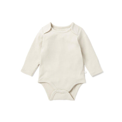 MORI Ribbed Long Sleeve Bodysuit - Ecru-Bodysuits- Natural Baby Shower