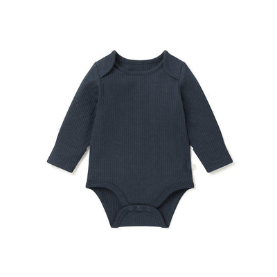 MORI Ribbed Long Sleeve Bodysuit - Navy-Bodysuits- Natural Baby Shower