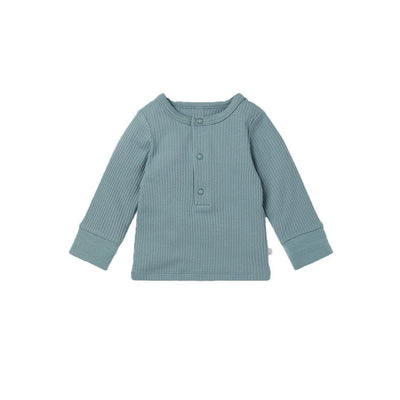 MORI Ribbed Pyjamas - Blue-Pyjamas- Natural Baby Shower