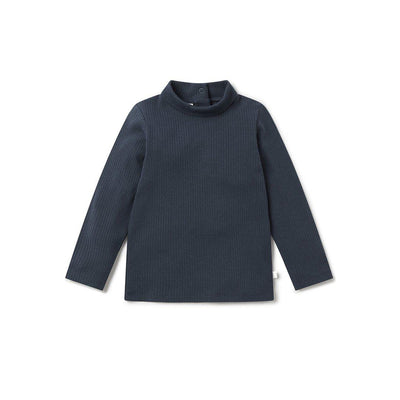 MORI Ribbed Roll Neck Long Sleeve T-Shirt - Navy-Long Sleeves- Natural Baby Shower