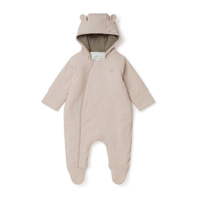 MORI Ribbed Snugsuit - Blush + Taupe-Coats & Snowsuits- Natural Baby Shower