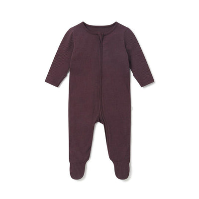 MORI Ribbed Zip-Up Sleepsuit - Berry-Sleepsuits- Natural Baby Shower