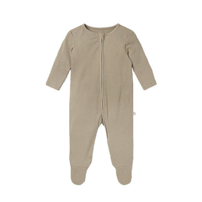 MORI Ribbed Zip-Up Sleepsuit - Biscuit-Sleepsuits- Natural Baby Shower