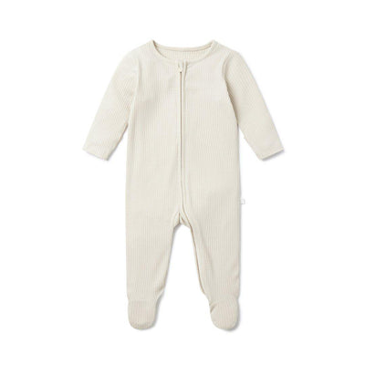 MORI Ribbed Zip-Up Sleepsuit - Ecru-Sleepsuits- Natural Baby Shower