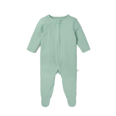 MORI Ribbed Zip-Up Sleepsuit - Mint-Sleepsuits- Natural Baby Shower