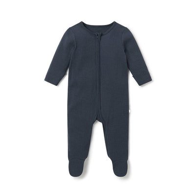 MORI Ribbed Zip-Up Sleepsuit - Navy-Sleepsuits- Natural Baby Shower