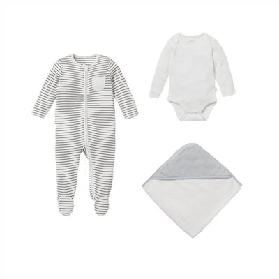 MORI Soak + Sleep Set - Grey Stripe-Clothing Sets- Natural Baby Shower