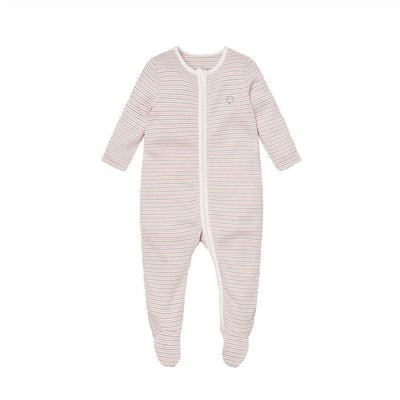 MORI Zip-Up Sleepsuit - Blush & Khaki-Sleepsuits- Natural Baby Shower