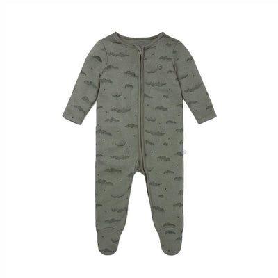MORI Zip-Up Sleepsuit - Khaki Cloud-Sleepsuits- Natural Baby Shower