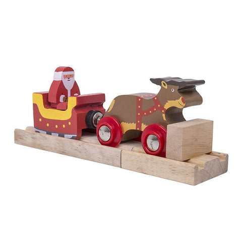 BigJigs Santa Sleigh with Reindeer - Name Train - Natural Baby Shower